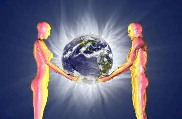 picture shows human male and female carrying planet earth